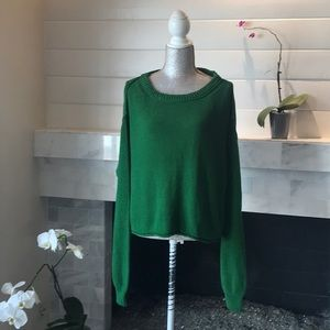 Free People Green Cotton Crew Neck Sweater L NWT